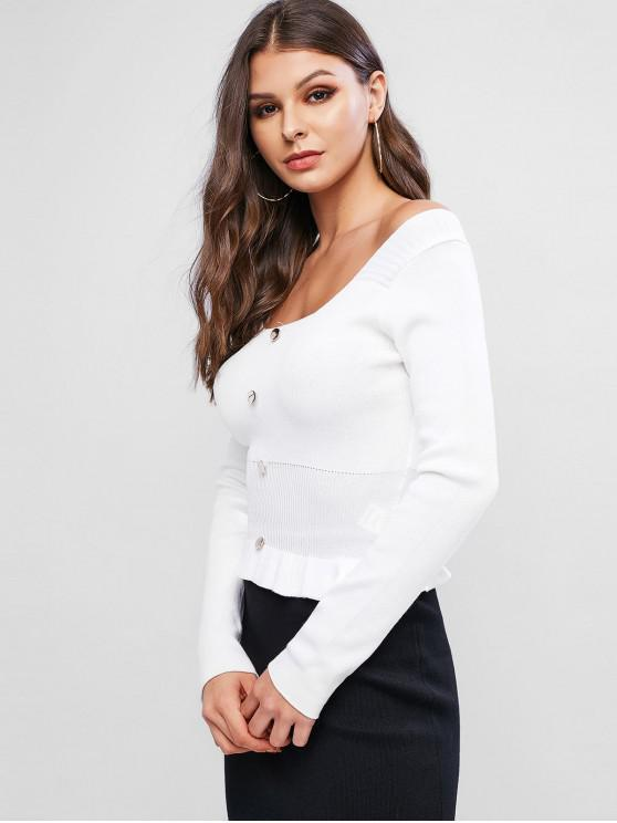 womens Scoop Neck Button Embellished Peplum Sweater - WHITE ONE SIZE