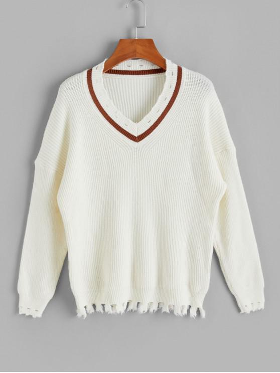 Picătură umăr V Neck Distressed Jumper Sweater - alb O marime