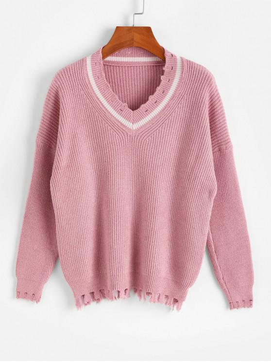 outfit Drop Shoulder V Neck Distressed Jumper Sweater - PINK ONE SIZE