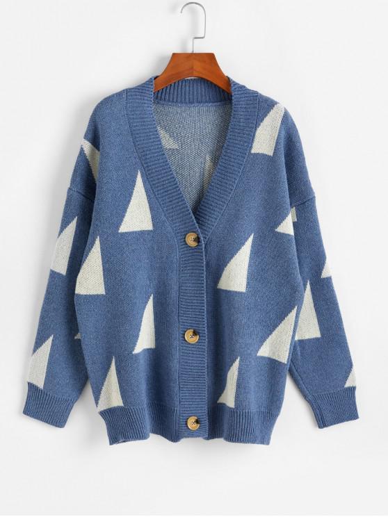 幾何圖形按鈕接待V領開衫 - 天藍色 One Size