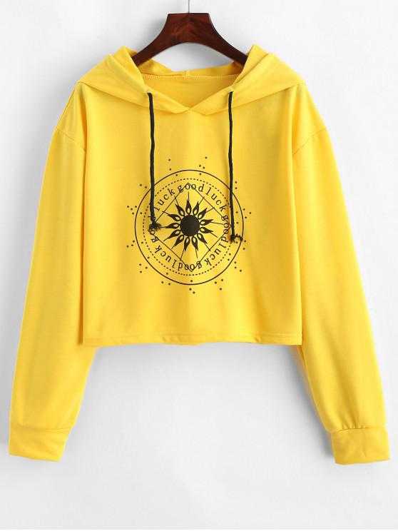 chic Good Luck Graphic Drop Shoulder Drawstring Hoodie - YELLOW XL