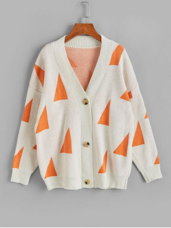 women's Geometric Graphic Button Front V Neck Cardigan - WARM WHITE ONE SIZE