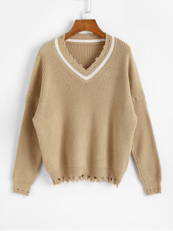 Picătură umăr V Neck Distressed Jumper Sweater - Lumina Khaki O marime