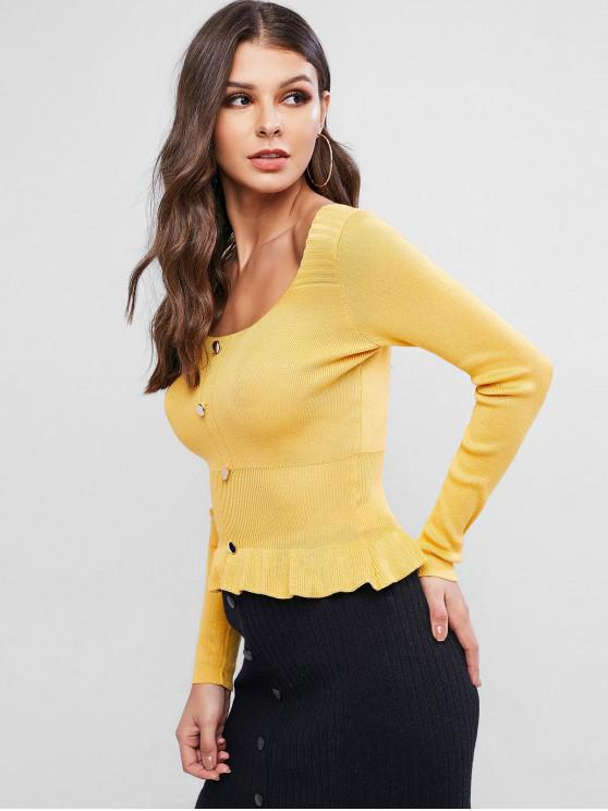 best Scoop Neck Button Embellished Peplum Sweater - YELLOW ONE SIZE