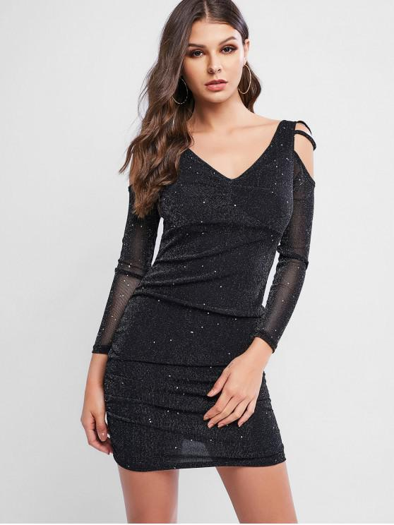 lady Sparkly Cold Shoulder Ruched Bodycon Party Dress - BLACK M