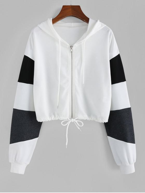 latest ZAFUL Two Tone Zip Up Cropped Hoodie - WHITE L