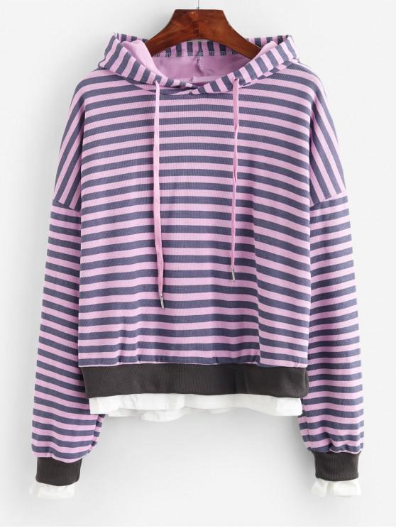 womens Striped Drop Shoulder Layered Hem Knit Hoodie - PURPLE ONE SIZE