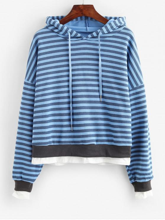 outfits Striped Drop Shoulder Layered Hem Knit Hoodie - BLUE ONE SIZE