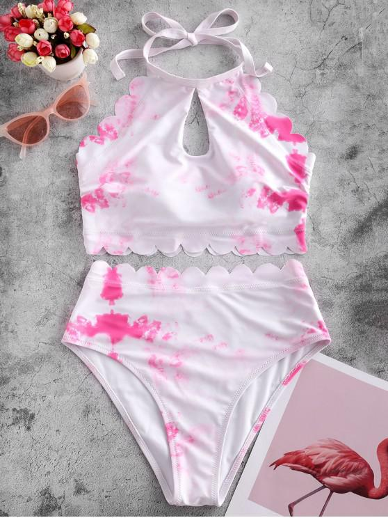 women's ZAFUL Scalloped High Waisted Tie Dye Tankini Swimsuit - NEON PINK XL