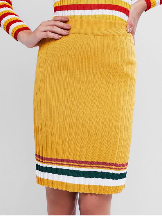 chic Striped Knit Skirt - BRIGHT YELLOW ONE SIZE