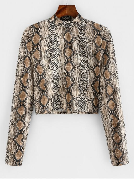 outfits ZAFUL Snakeskin Mock Neck Crop T-shirt - MULTI-A L