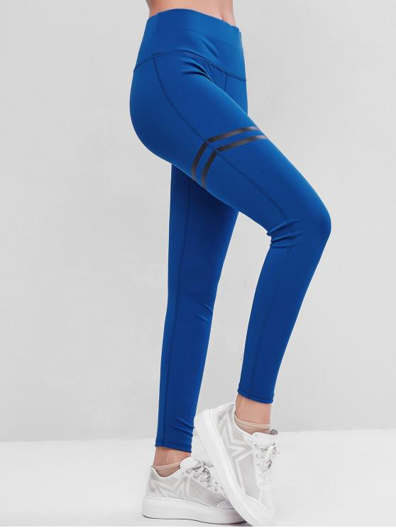 best Striped High Waisted Topstitching Leggings - BLUE M