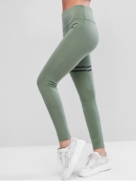 trendy Striped High Waisted Topstitching Leggings - GREEN L