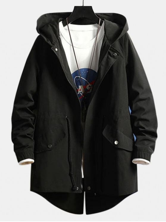 new High Low Back Split Solid Hooded Coat - BLACK L