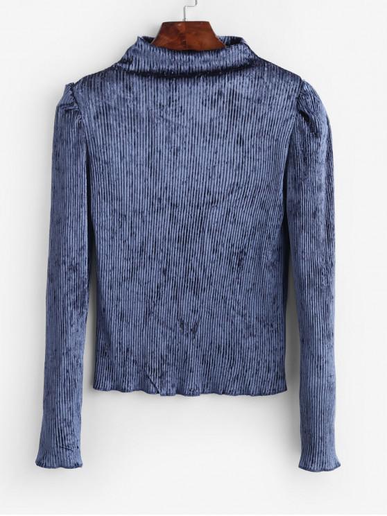 buy Mock Neck Shiny Velvet Shoulder Pads Tee - BLUE ONE SIZE