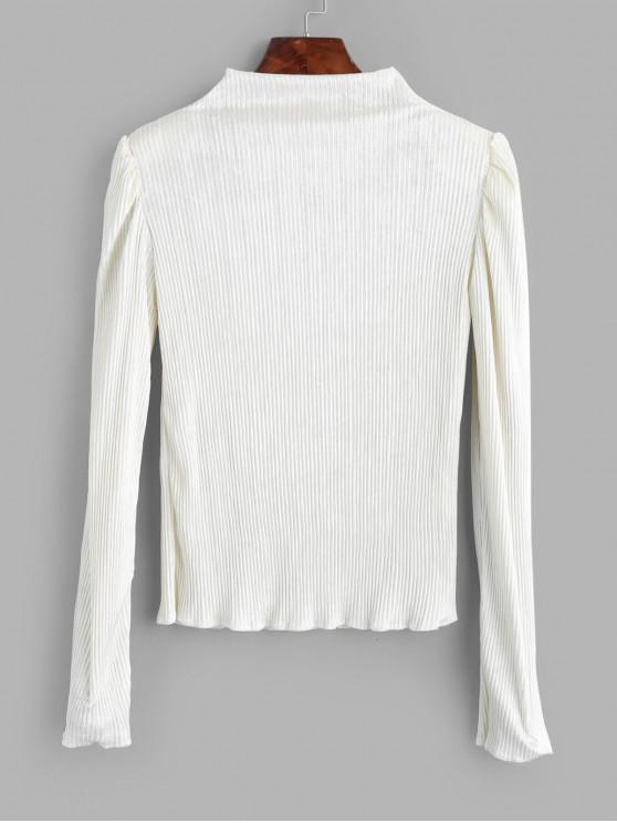 fancy Mock Neck Shiny Velvet Shoulder Pads Tee - WHITE ONE SIZE
