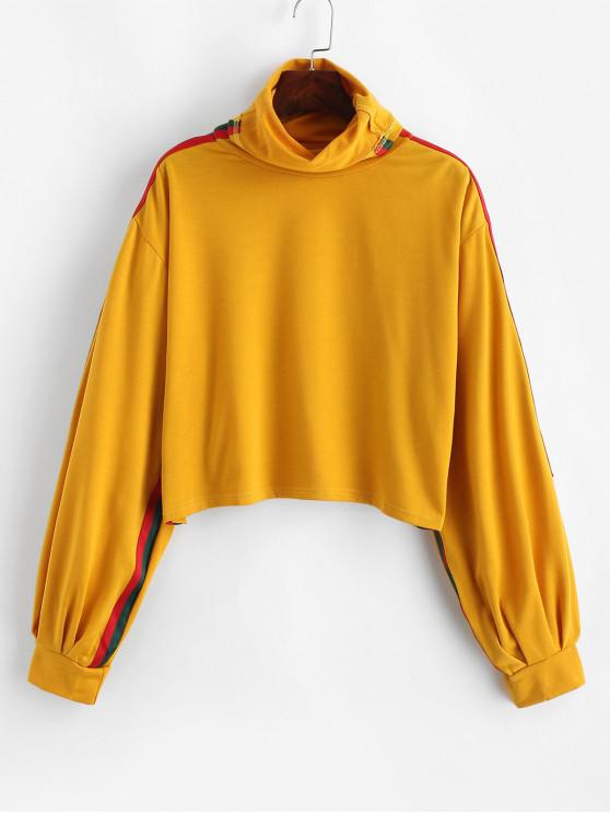 chic Striped Taped Drop Shoulder Sweatshirt - YELLOW S