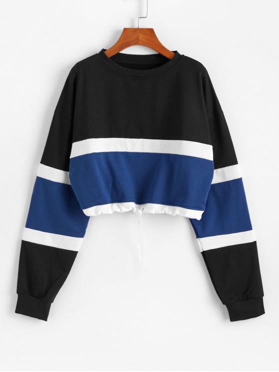 latest Striped Color-blocking Toggle Drawstring Sweatshirt - BLACK M