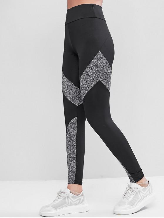 sale Zipper Pocket Heather Colorblock Leggings - BLACK M