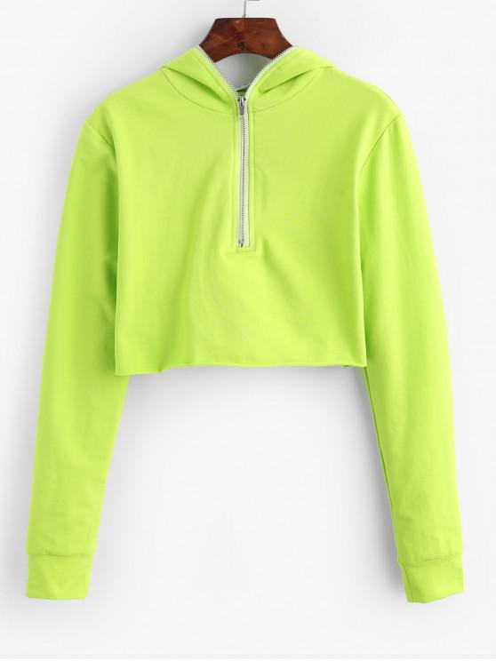 women's Raw Hem Neon Lime Half Zip Cropped Hoodie - GREEN ONE SIZE