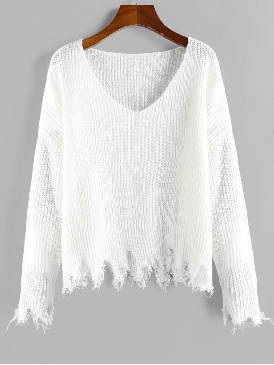 ladies ZAFUL Frayed Hem V Neck Drop Shoulder Sweater - WHITE L