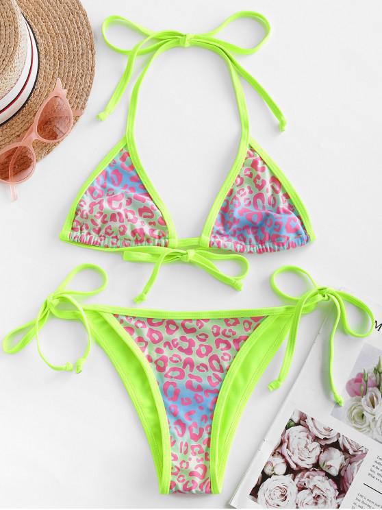 buy ZAFUL Neon Piping Leopard Bralette String Bikini Swimsuit - MULTI-A S