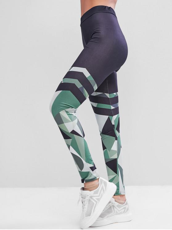 women Geo Striped Skinny Workout Leggings - MULTI L