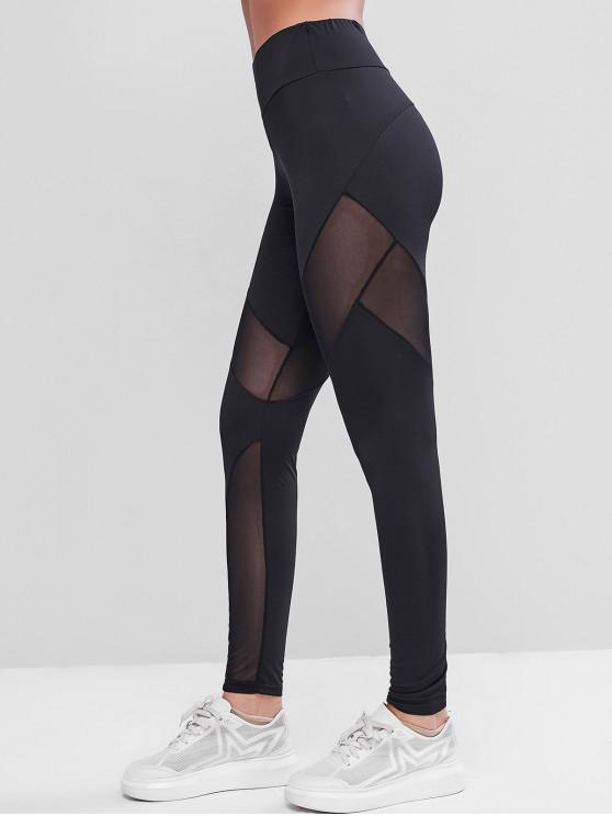 fashion Back Zip Mesh Insert Gym Leggings - BLACK XL