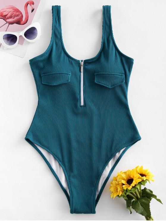 lady ZAFUL Half Zip Textured Ribbed One-piece Swimsuit - PEACOCK BLUE L