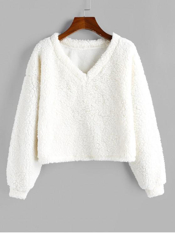 fashion ZAFUL Drop Shoulder V Neck Teddy Sweatshirt - WHITE L