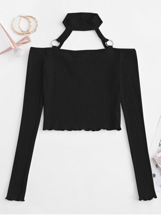outfits Choker O-ring Cold Shoulder Slim Crop Tee - BLACK M