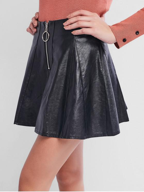 outfit O-ring Faux Leather Skater Skirt - BLACK M