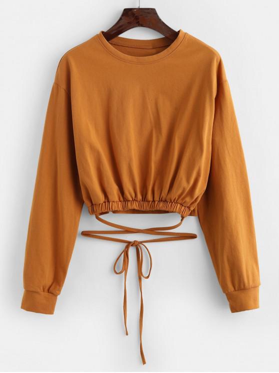 Sweat-shirt Simple Noué à Goutte Epaule - Jaune Taille Unique