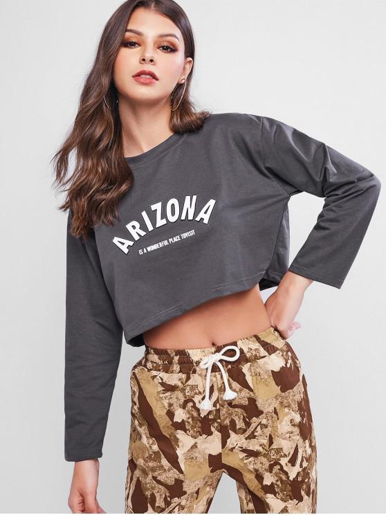 fancy Graphic Drop Shoulder Cropped Sweatshirt - ASH GRAY XL