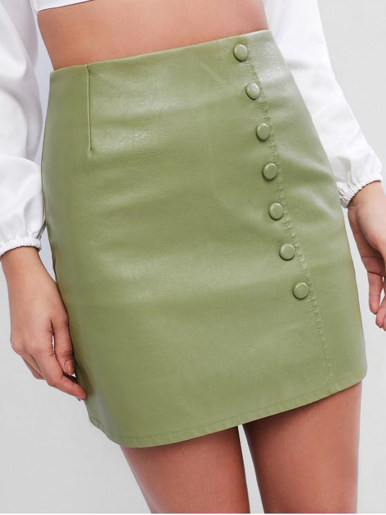 hot Mock Button Faux Leather Skirt - SALAD GREEN L