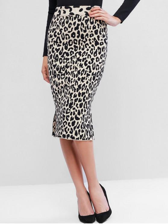 latest Slit Leopard Knit Pencil Skirt - LEOPARD ONE SIZE