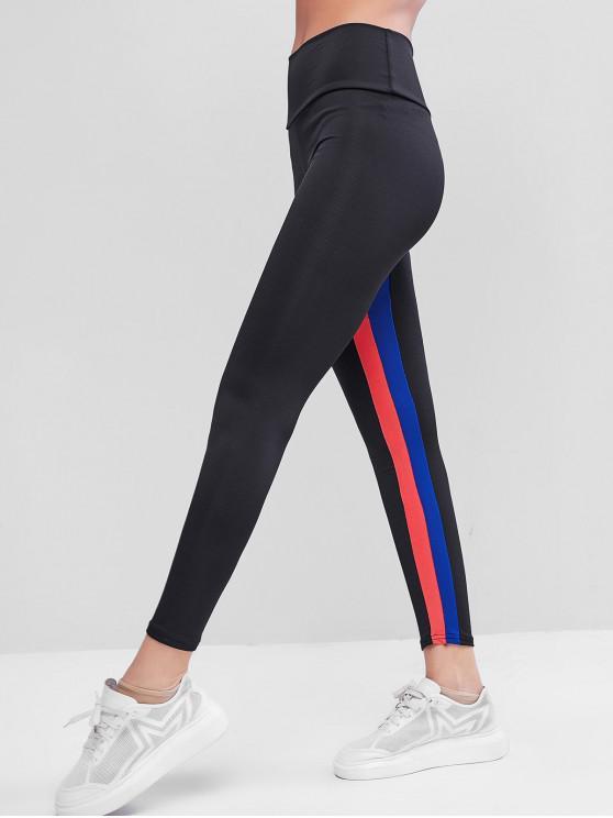 fashion Striped High Waisted Workout Leggings - BLACK L