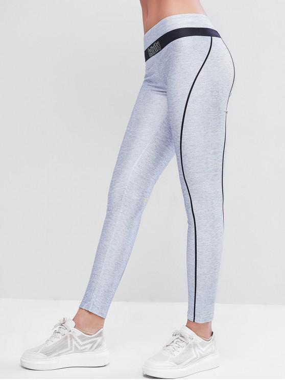 unique Letter Colorblock Skinny Workout Leggings - MULTI-B ONE SIZE