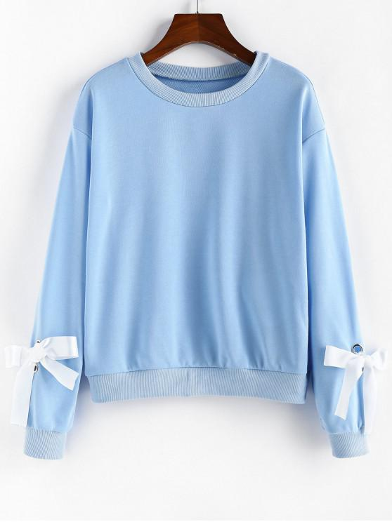 buy ZAFUL Ribbon Crew Neck Sweatshirt - DAY SKY BLUE M