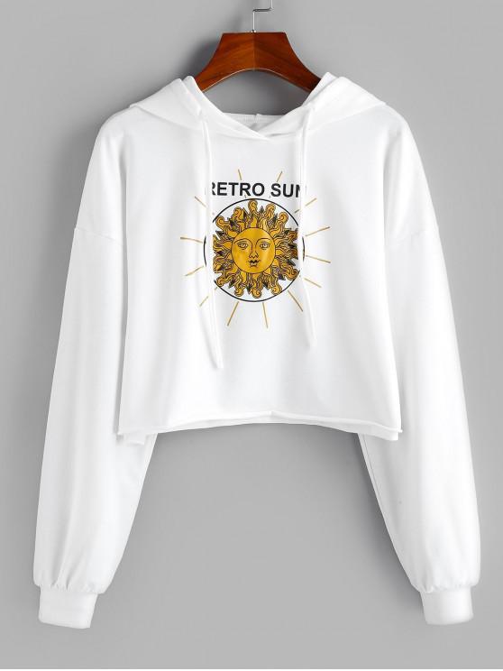 sale ZAFUL Retro Sun Print Drop Shoulder Crop Hoodie - WHITE M