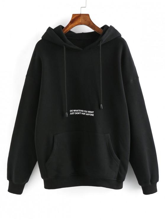 unique ZAFUL Letter Graphic Drop Shoulder Lounge Fleece Hoodie - BLACK L