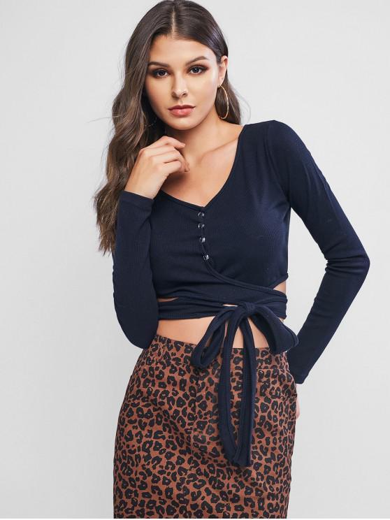 shop Snap Button Ribbed Crop Long Sleeve Wrap Tee - DARK SLATE BLUE XL