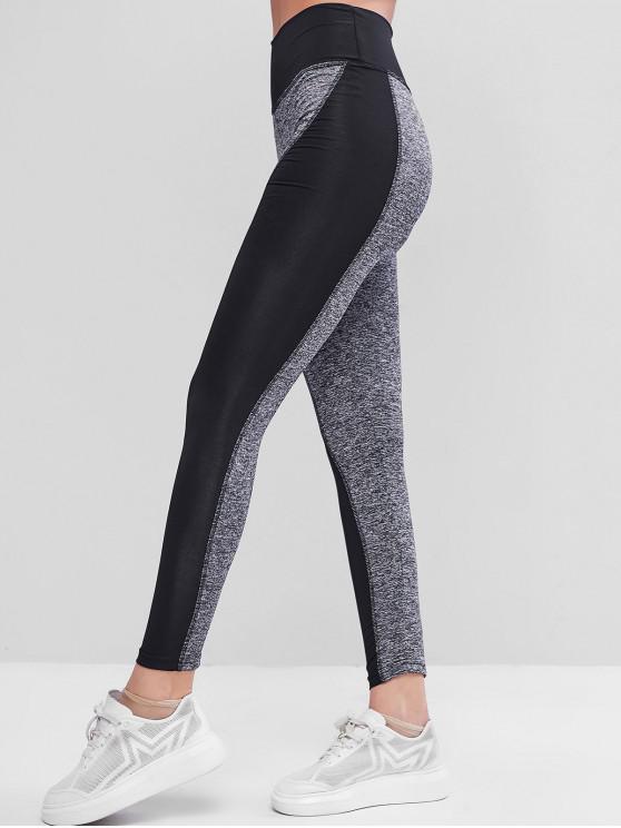 online Heather Colorblock High Waisted Skinny Leggings - BLACK S