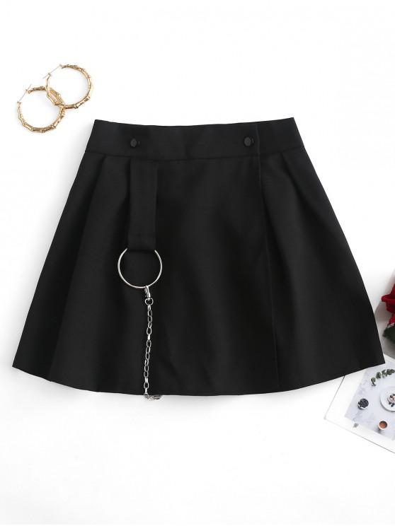 outfits Chains O-ring Pleated Overlap Skirt - BLACK M