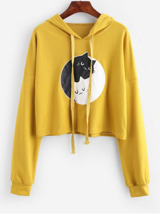 outfit ZAFUL Funny Cat Graphic Drop Shoulder Pullover Hoodie - GOLDEN BROWN M