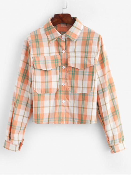 trendy Plaid Flap Pocket Button Up Shirt - MULTI-A ONE SIZE