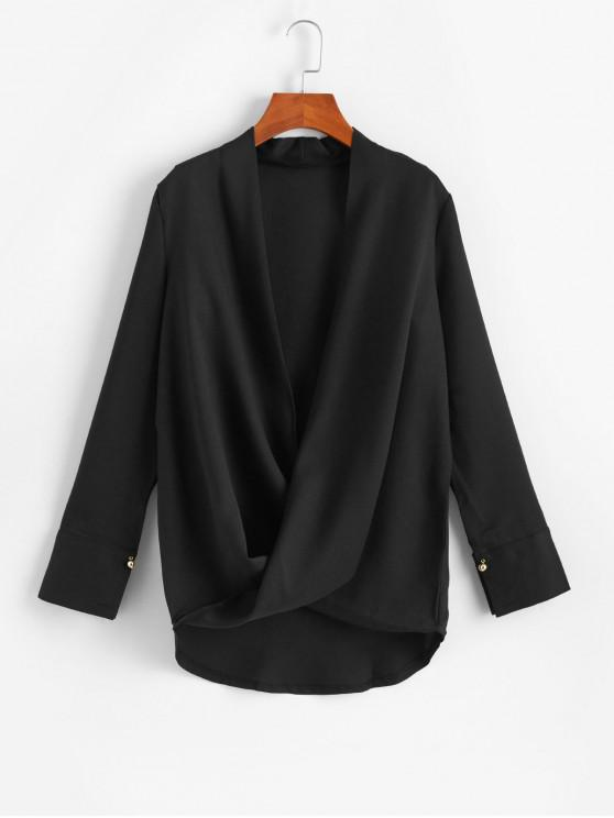 fancy Low Cut Beaded Overlap High Low Blouse - BLACK 2XL