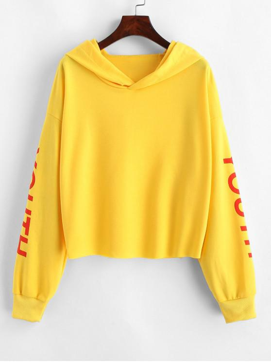 women's Youth Graphic Raw Cut Drop Shoulder Hoodie - YELLOW S