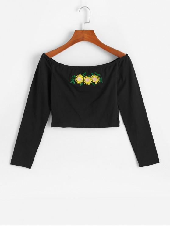latest Sunflower Embroidered Off Shoulder Crop Tee - BLACK L