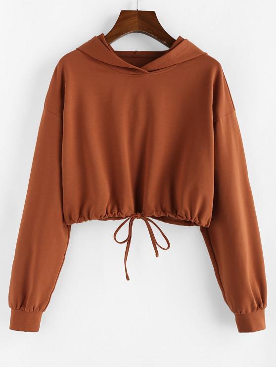fashion ZAFUL Drawstring Hem Drop Shoulder Crop Hoodie - DARK GOLDENROD XL